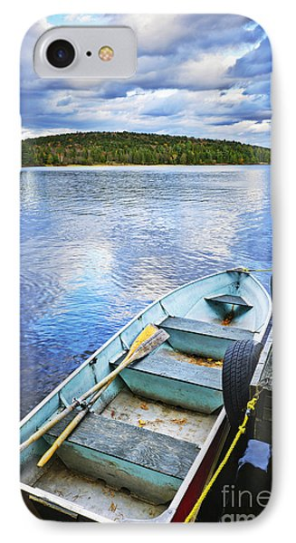 Rowboat Docked On Lake Phone Case by Elena Elisseeva