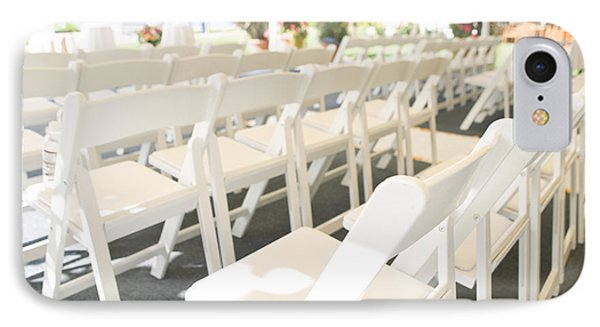 Rows Of White Folding Chairs Phone Case by Ned Frisk