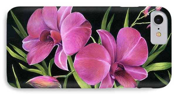 IPhone Case featuring the painting Royal Pink Orchids by Nancy Tilles