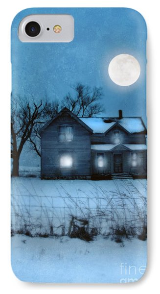 Rural Farmhouse Under Full Moon Phone Case by Jill Battaglia