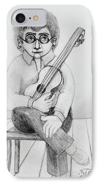 Russian Guitarist Black And White Art Eyeglasses Long Curly Hair Tie Chin Shirt Trousers Shoes Chair IPhone Case by Rachel Hershkovitz