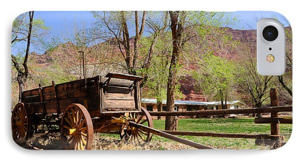 Rustic Wagon At Historic Lonely Dell Ranch - Arizona Phone Case by Gary Whitton