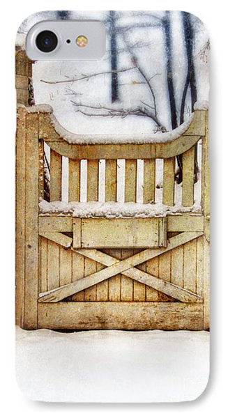Rustic Wooden Gate In Snow IPhone Case