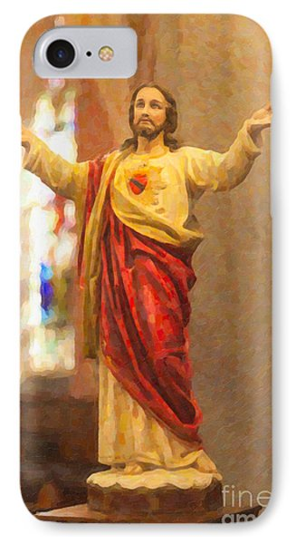 Sacred Heart Of Jesus Phone Case by Clarence Holmes