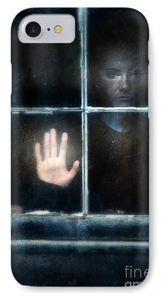 Sad Person Looking Out Window Phone Case by Jill Battaglia