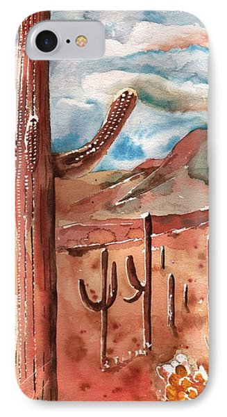 IPhone Case featuring the painting Saguaro Cactus by Sharon Mick