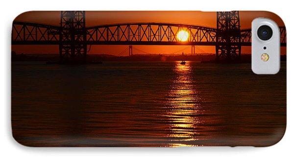 IPhone Case featuring the photograph Sailboat Bridges Sunset by Maureen E Ritter
