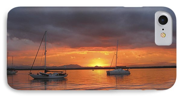 IPhone Case featuring the digital art Sailboats At Anchor by Anne Mott