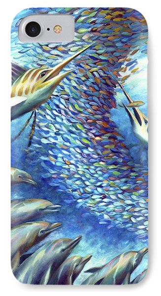 IPhone Case featuring the painting Sailfish Plunders Baitball I - Marlin And Dolphin by Nancy Tilles