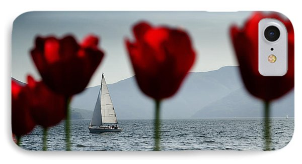 Sailing Boat And Tulip Phone Case by Mats Silvan