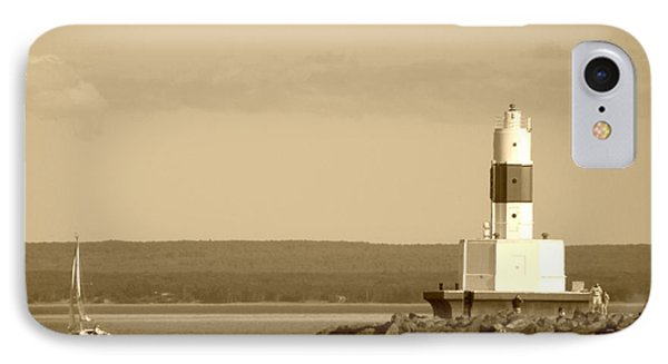 IPhone Case featuring the photograph Sailing By The Marquette Presque Isle Lighthouse by Mark J Seefeldt