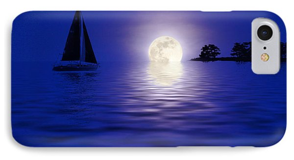 Sailing Into The Moonlight IPhone Case by Cindy Haggerty