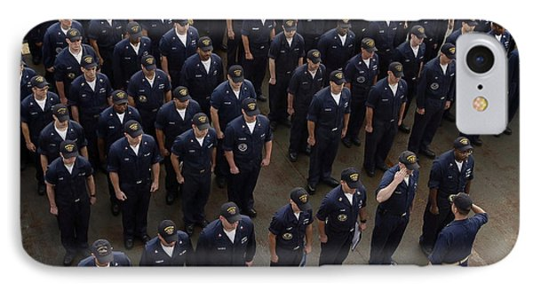 Sailors Stand At Attention During An Phone Case by Stocktrek Images