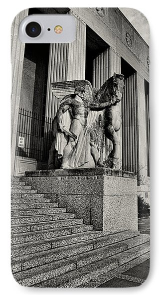 Saint Louis Soldiers Memorial Exterior Black And White Phone Case by Joshua House
