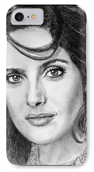 IPhone Case featuring the drawing Salma Hayek In 2005 by J McCombie
