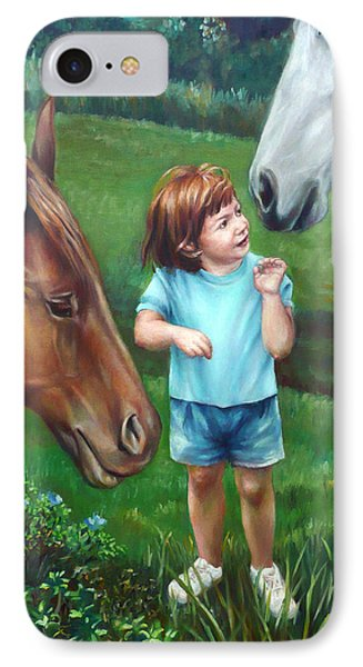 IPhone Case featuring the painting Samantha Becomes An Equestrian by Nancy Tilles