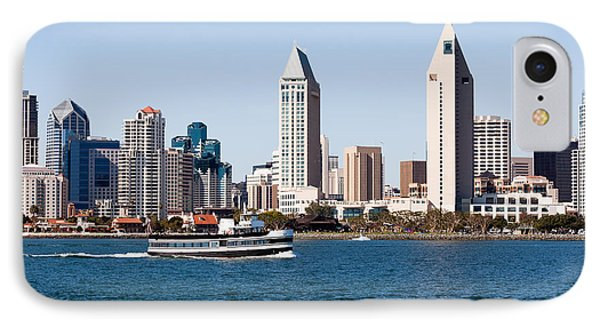 San Diego Skyline And Tour Boat Phone Case by Paul Velgos
