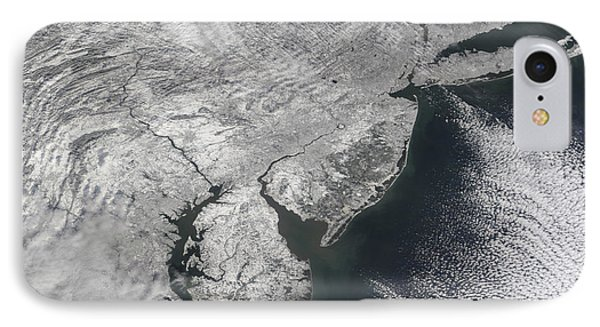 Satellite View Of A Noreaster Snow Phone Case by Stocktrek Images