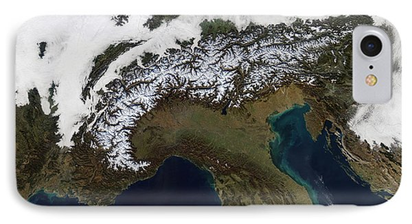 Satellite View Of The Alps Phone Case by Stocktrek Images