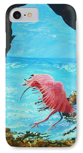 IPhone Case featuring the painting Scarlet Ibis Landing by Joy Braverman