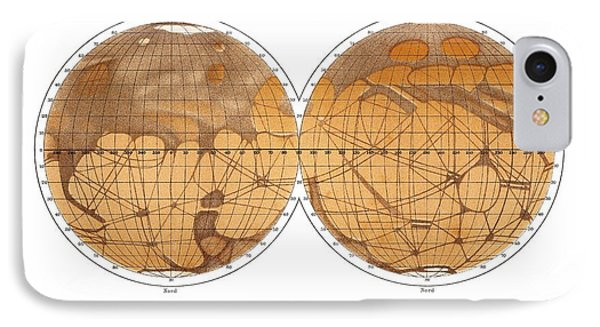 Schiaparelli's Map Of Mars, 1882-1888 Phone Case by Detlev Van Ravenswaay
