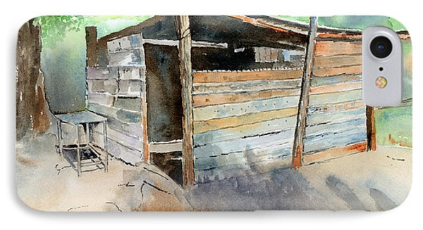 IPhone Case featuring the painting School Cooking Shack - South Africa by Arline Wagner