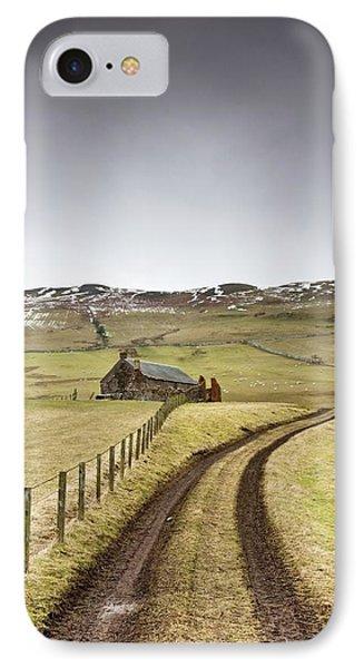 Scottish Borders, Scotland Tire Tracks Phone Case by John Short