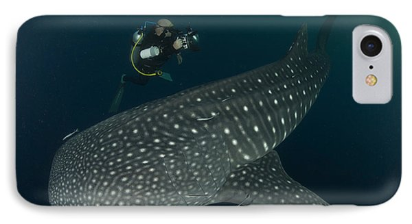Scuba Diver And Whale Shark, Papua Phone Case by Steve Jones