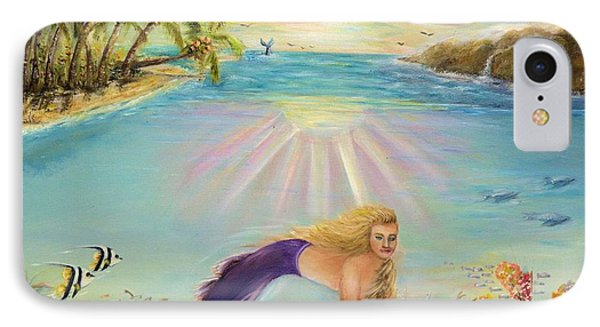 IPhone Case featuring the painting Sea Mermaid Goddess by Bernadette Krupa