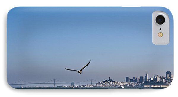 Seagull Flying Over San Francisco Bay Phone Case by David Buffington