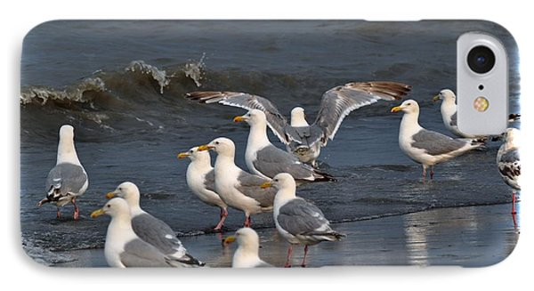 Seagulls Gathering Phone Case by Debra  Miller