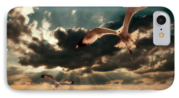 Seagulls In A Grunge Style IPhone Case by Meirion Matthias