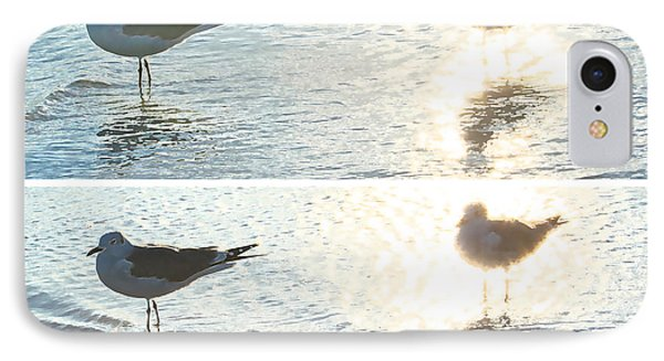Seagulls In A Shimmer Two Views By Olivia Novak Phone Case by Olivia Novak