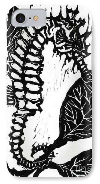 Seahorse Block Print IPhone Case by Ellen Miffitt