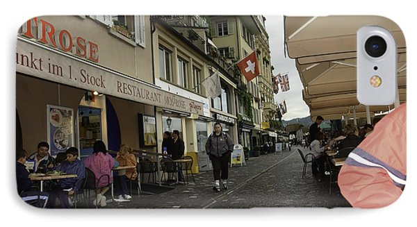 Seated In The Cafe Along The River In Lucerne In Switzerland Phone Case by Ashish Agarwal