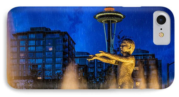 Seattle Rain Boy IPhone Case by Ken Stanback