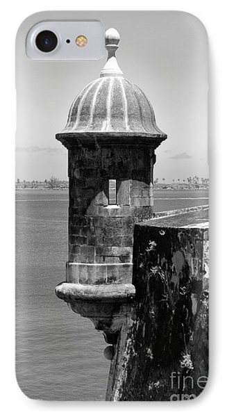 Sentry Tower Castillo San Felipe Del Morro Fortress San Juan Puerto Rico Black And White Phone Case by Shawn O'Brien