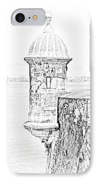 Sentry Tower Castillo San Felipe Del Morro Fortress San Juan Puerto Rico Line Art Black And White Phone Case by Shawn O'Brien