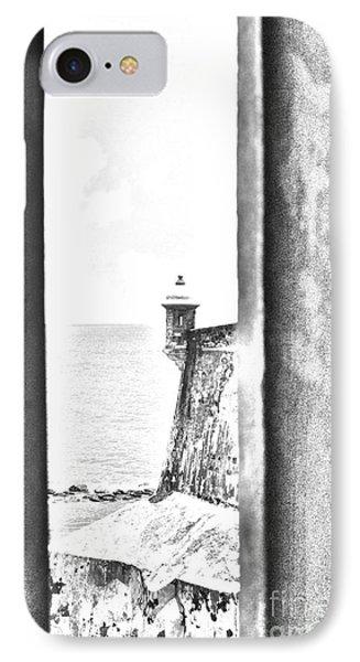 Sentry Tower View Castillo San Felipe Del Morro San Juan Puerto Rico Black And White Line Art Phone Case by Shawn O'Brien