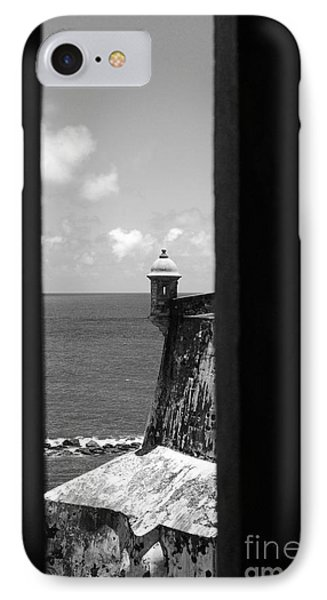 Sentry Tower View Castillo San Felipe Del Morro San Juan Puerto Rico Black And White Phone Case by Shawn O'Brien