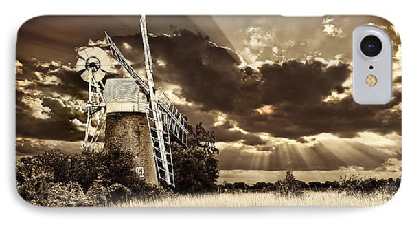 IPhone Case featuring the photograph Sepia Sky Windmill by Meirion Matthias