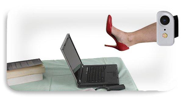 Sexy Woman Kicks A Laptop  Phone Case by Ilan Rosen