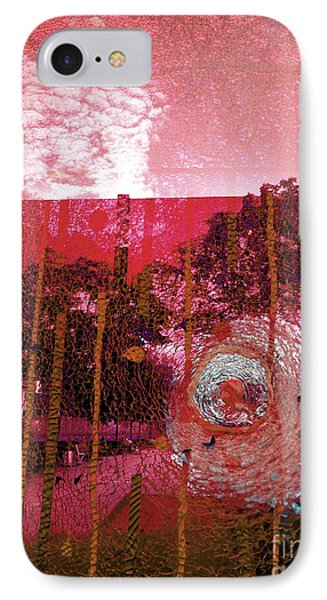 IPhone Case featuring the photograph Abstract Shattered Glass Red by Andy Prendy