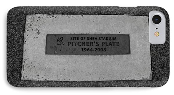 Shea Stadium Pitchers Mound In Black And White Phone Case by Rob Hans