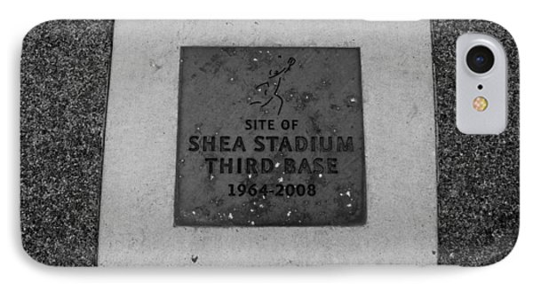 Shea Stadium Third Base In Black And White Phone Case by Rob Hans