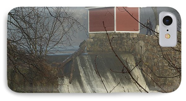 Shed By The Dam In Fog IPhone Case