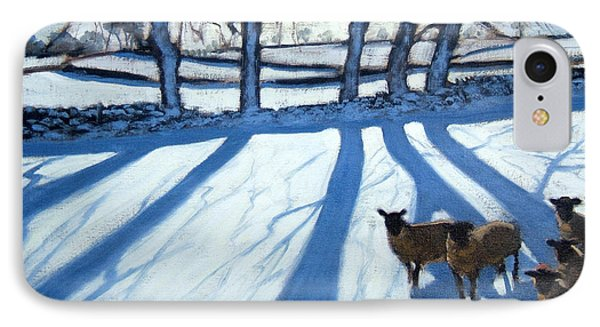 Sheep In Snow Phone Case by Andrew Macara