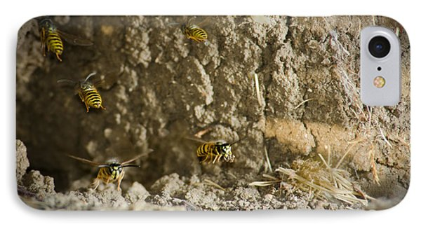 Shift Change Yellow-jacket Wasps Flying Out To Forage As Others Return To The Nest Phone Case by Andy Smy