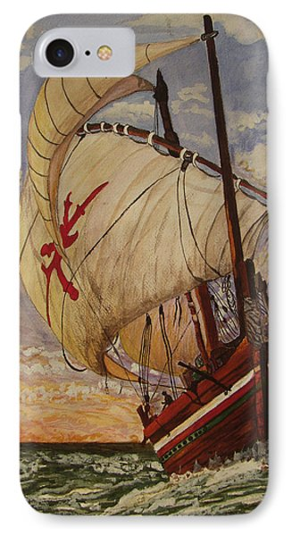 IPhone Case featuring the painting Ship On A Tossing Sea by Joy Braverman