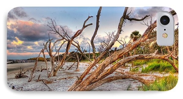 Shoreline Beach Driftwood And Grass Phone Case by Jenny Ellen Photography